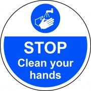 400mm dia. STOP Clean your hands Floor Graphic