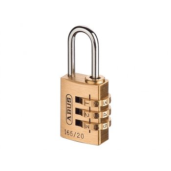 ABUS 165/20 20mm Solid Brass Body Combination Padlock (3 Digit) Carded