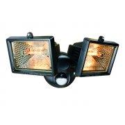 Byron ES120/2 Twin Halogen Floodlights with Motion Detector Black 150 Watt