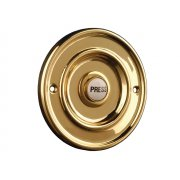 Byron Round Wired Bell Push Flush Fit Brass