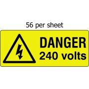 Danger 240 volts - SAV (49 x 20mm, sheet of 56 labels)