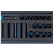 "1/2"" Sq. Dr. Impact Socket Set in 1/4 Drawer EVA Insert Tray (20 Piece): Model No. IT-EVA21"