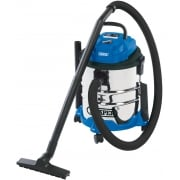 DRAPER 20L 1250W 230V Wet and Dry Vacuum Cleaner with Stainless Steel Tank: Model No. WDV20BSS