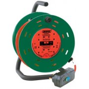 DRAPER 25M 230V Four Socket Garden Cable Reel with RCD Adaptor: Model No.DCR2510RCDC