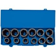 "3/4"" Sq. Dr. Combined MM/AF Deep Impact Socket Set in Metal Case (12 Piece): Model No. 419D/12"