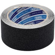 DRAPER 3.7M x 50mm Black Heavy Duty Safety Grip Tape Roll: Model No.TP-S/GRIP