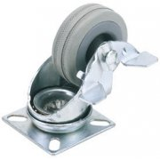 DRAPER 50mm Dia. Swivel Plate Fixing Rubber Castor with Brake - S.W.L 50Kg: Model No.60250PB