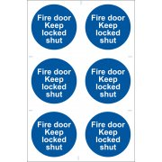 DRAPER 6 x 'Fire Door Keep Locked' Mandatory Sign: Model No.SS08