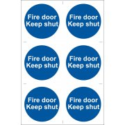DRAPER 6 x 'Fire Door Keep Shut' Mandatory Sign: Model No.SS07