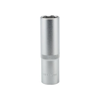 DRAPER Expert 16mm 1/2in. Square Drive Hi-Torq ; Satin Chrome 6 Point Deep Socket: Model No.HT6-MM
