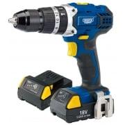 DRAPER Expert 18V Cordless Combi Hammer Drill with Two Li-Ion Batteries: Model No. CHD182VLIA