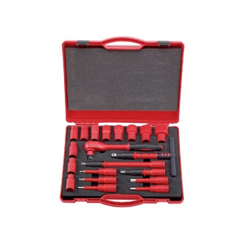 DRAPER Expert 20 Piece 1/2in. Sq. Dr. VDE Approved Fully Insulated Metric Socket Set: Model No.H20VDE