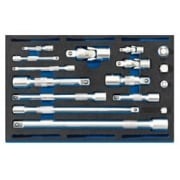 Extension Bar, Universal Joints and Socket Convertor Set 1/4 Drawer EVA Insert Tray (16 Piece): Model No. IT-EVA44