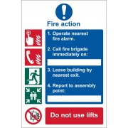 DRAPER 'Fire Action Procedure' Mandatory Sign: Model No.SS10