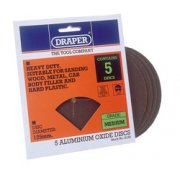 DRAPER Five 125mm Medium Grade Aluminium Oxide Sanding Discs: Model No.694