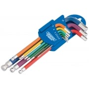 Metric Coloured Extra Long Hexagon and Ball End Key Set (9 Piece): Model No.870-1ZITBP9M/C
