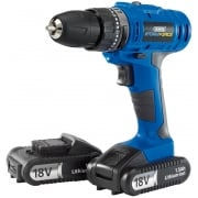 DRAPER Storm Force Cordless Hammer Drill with Two Li-ion Batteries (18V)