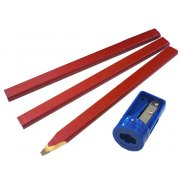Faithfull Carpenters Pencils Red (Pack of 3 +Sharp Card)