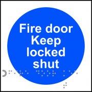 Fire door Keep locked shut - Taktyle (100 x 100mm) (Pack of 10)