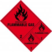 Flammable gas Class 2 labels - SAV (200 x 300mm) (Pack of 3)