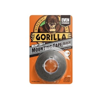 Gorilla Glue Gorilla Heavy-Duty Double Sided Black Mounting Tape 25.4mm x 1.52m