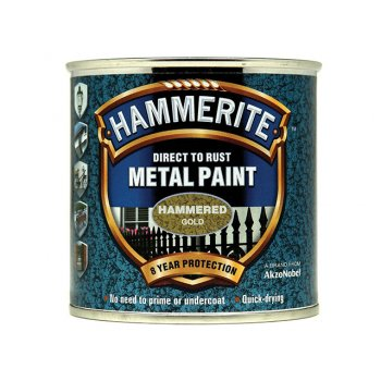 Hammerite Direct to Rust Hammered Finish Metal Paint Gold 250ml