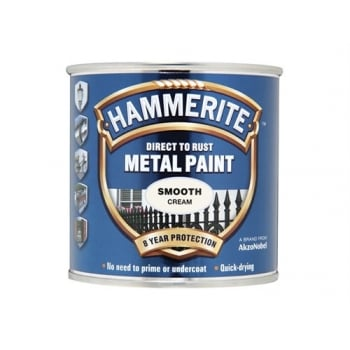 Hammerite Direct to Rust Smooth Finish Metal Paint Cream 250ml