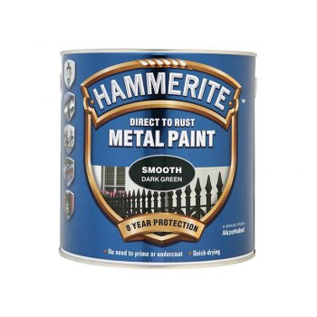 Hammerite Direct to Rust Smooth Finish Metal Paint Dark Green 2.5 Litre