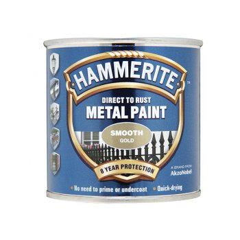 Hammerite Direct to Rust Smooth Finish Metal Paint Gold 250ml