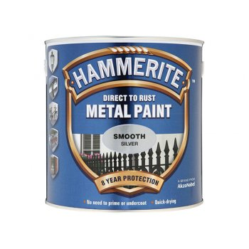 Hammerite Direct to Rust Smooth Finish Metal Paint Silver 2.5 Litre