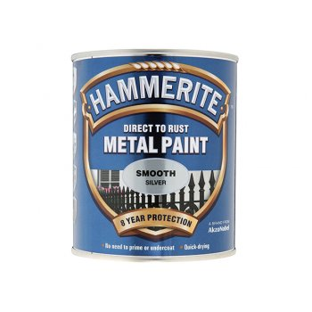 Hammerite Direct to Rust Smooth Finish Metal Paint Silver 250ml