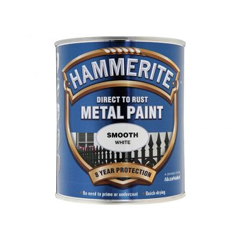 Hammerite Direct to Rust Smooth Finish Metal Paint White 750ml