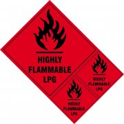 Highly Flammable LPG labels - SAV (200 x 300mm) (Pack of 3)