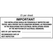 Installation inspection - SAV (96 x 38mm, sheet of 15 labels)
