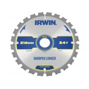 IRWIN Construction Circular Saw Blade 216 x 30mm x 24T ATB/Neg M