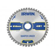 IRWIN Construction Circular Saw Blade 216 x 30mm x 48T ATB/Neg M