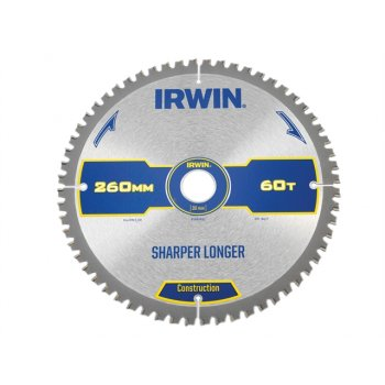 IRWIN Construction Circular Saw Blade 260 x 30mm x 60T ATB/Neg M