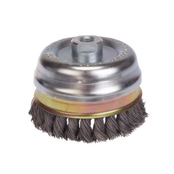 Lessmann Knot Cup Brush 65mm M14 x 20 x 0.50 Stainless Steel Wire