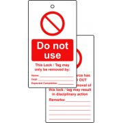 Lockout tags - Do not use (Double Sided 10 pack)