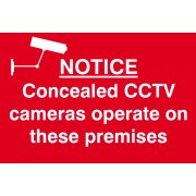 Notice Concealed CCTV cameras operate on these premises - PVC (300 x 200mm)