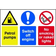 Petrol pumps / Switch off engine / No smoking - PVC (600 x 400mm)