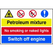 Petroleum mixture / No smoking / Switch off engine - PVC (600 x 400mm)