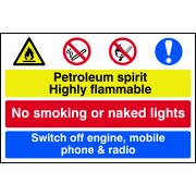 Petroleum spirit / No smoking / Switch off engine, mobile... - PVC (600 x 400mm)