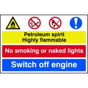 Petroleum spirit / No smoking / Switch off engine - PVC (600 x 400mm)