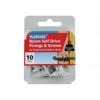 Plasplugs Nylon Self Drive Fixings & Screws (Pack 10) -No. HNSS010