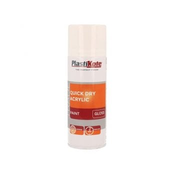 PlastiKote Trade Quick Dry Acrylic Spray Paint Gloss White 400ml