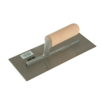 R.S.T. Notched Trowel 5mm V Notches Wooden Handle 11in x 4.1/2in