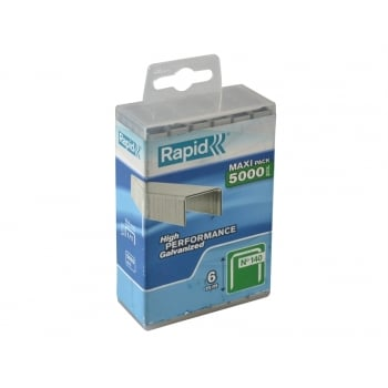 Rapid 140/6 6mm Galvanised Staples Poly Pack 5000