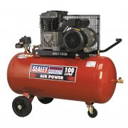 Sealey Compressor 100ltr Belt Drive 3hp with Cast Cylinders & Wheels Model No-SAC1103B
