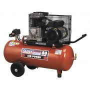 Sealey Compressor 50ltr Belt Drive 2hp with Cast Cylinders & Wheels Model No-SAC0502B